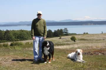 Henry and SweetPea with their Dad in the San Juan Islands