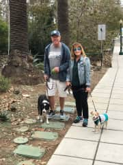 John and Faith taking the dogs to the beach in San Diego
