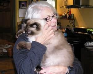 Laura saying goodbye to sweet kitty Bob in Nova Scotia