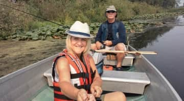 Karen and Mike bass fishing near our property in Birch Bay, Wa.