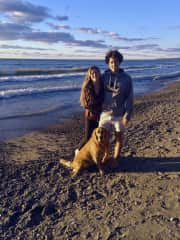 Claire, Jake and Oakley at the beach - Lake Ontario