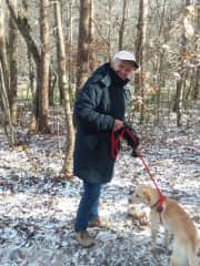 Doris walking Luna on a very cold winter's day at a sit in Ashville NC 2019
