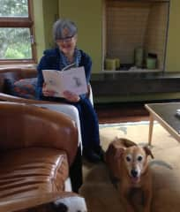 Julie reading Mary Oliver's Dog Songs to Tango