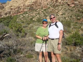 Carol and Guy hiking in Arizona