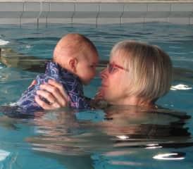 Teaching our grandson to swim!