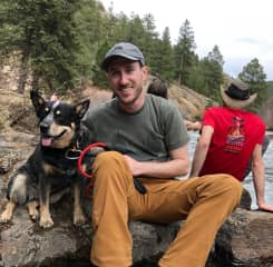 On a camping trip to the Colorado mountains with Batman. (Yes, his name is Batman.)