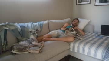 Will with the 2 Vegan Whippets in Hervey Bay, Cairn Australia