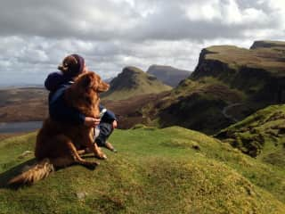 Darcy, was my first pet, probably most travelled dog in Europe, we were enjoying the scenery with a little hug in Isle of Skye.