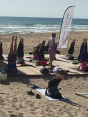 no better place to be doing yoga,than on the beach