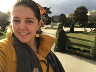 Me in December 2019 in Madrid's Retiro Park. I love traveling, and am so grateful I get to do it often as an international teacher!