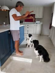 Jonathan with the two smartest dogs we've ever met! (Dymock, UK)