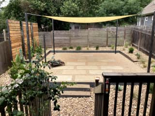 Brand new renovated yard! We will be adding patio furniture asap.