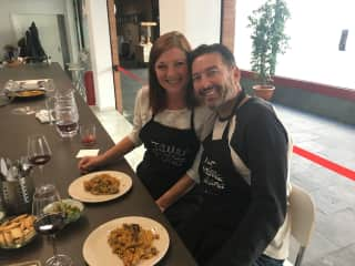 Edward and I at a Spanish cooking class in Seville, Spain