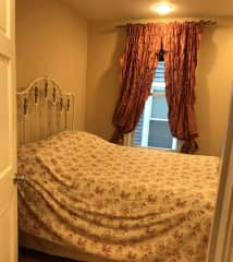 Double bed in medium sized room - note that mattress is memory foam.  New bedding and pillows will be provided.  Perfect for 1 person, but I'd say it's too tight for two people.  For this reason, this opp is best for a solo traveler or 2 friends.