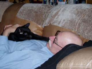 Ross -  siesta with Slugger