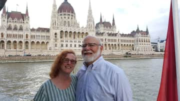 Traveling in Budapest on the Danube River.