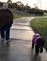 Sharlot walking with Sebbie