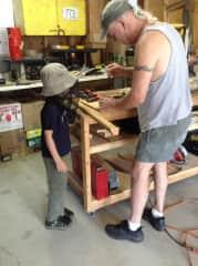 Teaching our grandson carpentry