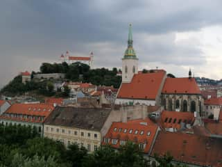 Old Town and castle, Bratislava (balcony view from a restaurant, not the apartment!)