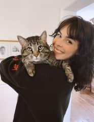 hugs from my three-legged cat, Trip