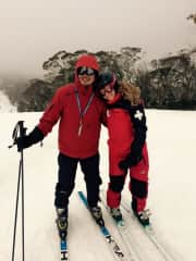 Ninh and Beck Skiing- Beck is a Ski Patroller