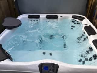 Hot tub spa in backyard