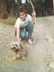 Our Lhasa Apso, Punim, and I on a hike - in a previous life