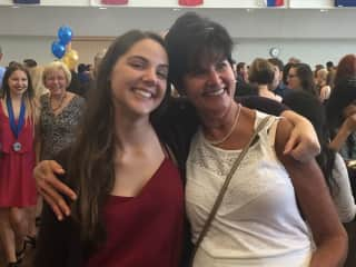 This is my younger daughter, Carly, at her college graduation 06/17.  She off to Italy on a Fullbright Scholarship, for a year of biomedical research then grad school.  I am so proud!