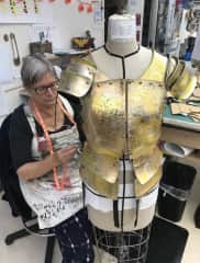 Making armour for Joan of Arc at Oregon Shakespeare Festival.