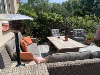 Our sun terrace overlooking the  spa & garden.