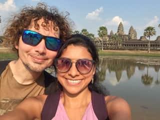 Exploring Angkor Wat, in Cambodia.