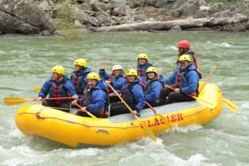 My family and friends white water rafting in Glacier National Park.