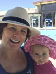 Elizabeth and I are at the pool.