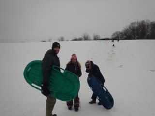 Matt, our daughter and friend enjoying the fresh snow.