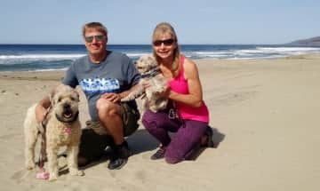 Playing with Jasmine and Lexi on Zuma Beach in Malibu, California, USA