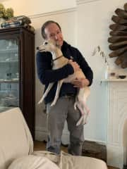 My husband Rick loving on a lovable Whippet in  Brooklyn, NY