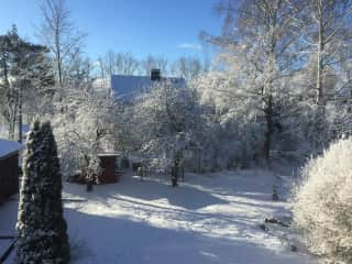 Our former house, garden in winter