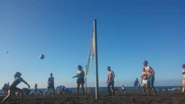 Playing volleyball with my friends in Tenerife!