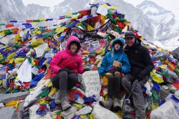 The three of us trekked to Everest Base Camp in 2017