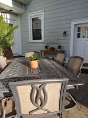 The patio features a large dining table, additional seating, and can be accessed from the kitchen or the private entrance just off your bedroom.