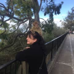 Claire at Gibralter in Jan 2019 with a barbary macaque