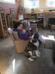 Joni with Alice pet sitting