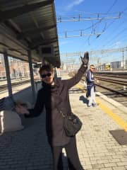 Catching a train to Florence and waving goodbye.