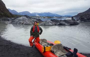 2019 kayaking at Valdez Lake, Alaska, USA.