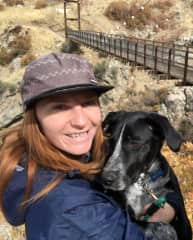 Ina and Lucky hiking