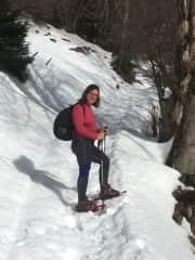 Maria snow shoeing.