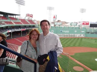 Baseball!  Mark and Pam at the Fenway Park in Boston, Mass.