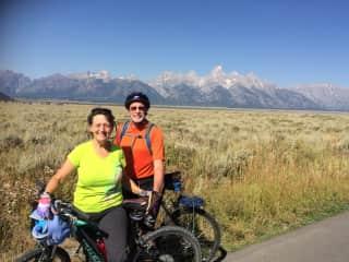 Cycling around in Teton National Park, Wyoming.