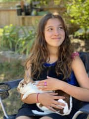 Addy holding her rabbit friend Mr. Clyde from Bonnie and Clyde ;)
