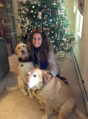 Jenn with Scout and Brison at Christmas time